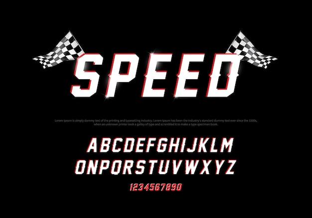 Modernes alphabet- und zahlgußlaufen. geschwindigkeitstypografieschriftart