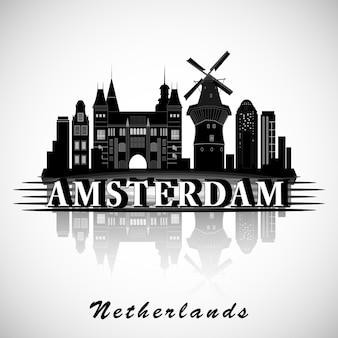 Modernes amsterdamer stadt-skyline-design. niederlande