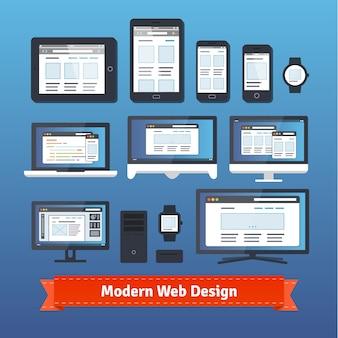 Modernes, ansprechendes webdesign auf allen mobilen geräten