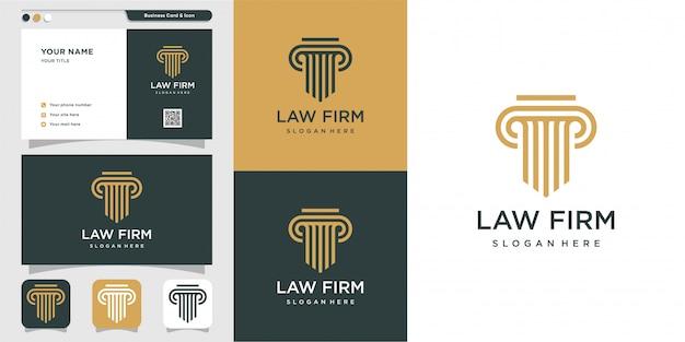 Modernes anwaltskanzleilogo und visitenkartenentwurf. gold, firma, recht, symbol gerechtigkeit, visitenkarte, premium
