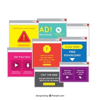 Modernes anzeigenblockkonzept mit flachem design