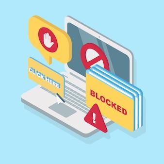 Modernes anzeigenblockkonzept mit isometrischer ansicht