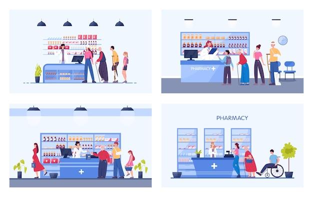 Modernes apothekeninterieur mit besetzten besuchern. kunden bestellen und kaufen medikamente und medikamente. apotheker steht an der theke in der uniform. gesundheits- und behandlungskonzept.