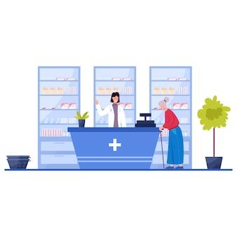 Modernes apothekeninterieur mit besucher. kunden bestellen und kaufen medikamente und medikamente. apotheker steht an der theke in der uniform. gesundheits- und behandlungskonzept. vektorillustration