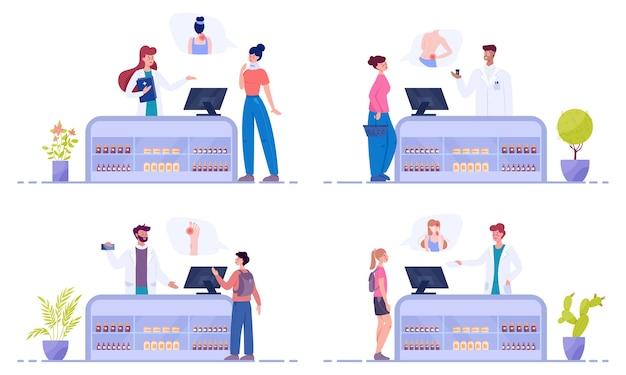 Modernes apothekeninterieur mit besuchern. kunden bestellen und kaufen medikamente und medikamente. apotheker steht an der theke in der uniform. gesundheits- und behandlungskonzept.