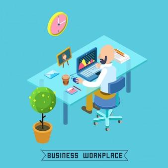 Modernes arbeitsplatz-isometrisches büro