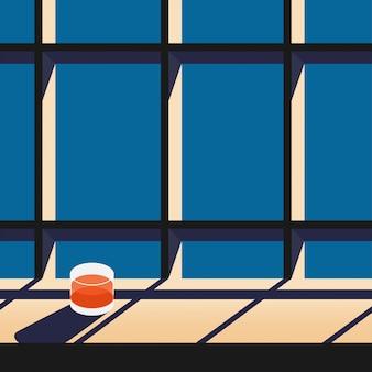 Modernes architekturfenster der minimalen gläser mit einer tabelle und einem glas saft auf dem tisch, während die sonnenuntergang- / sonnenaufgangzeit mit schatten von der sonne