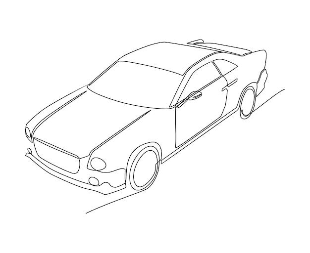 Modernes auto kontinuierliche strichzeichnung vektor-illustration