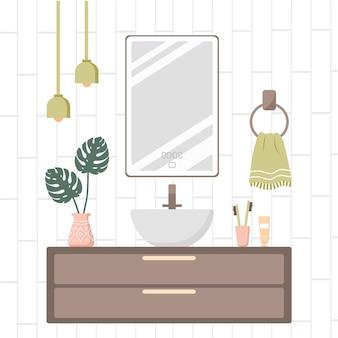 Modernes badezimmer interieur. gemütlicher weißer raum mit spiegel und gefäßschale.