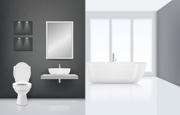 Modernes badezimmer interieur. waschkabine der toilettenwanne im stilvollen luxusinnenraum des frischen und weißen bades. realistisch sauber