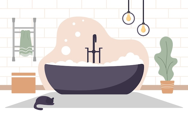 Modernes badezimmerinterieur in der skandinavischen artillustration