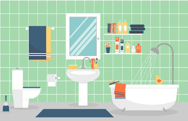 Modernes badezimmerinterieur mit möbeln im flachen stil. entwerfen sie ein modernes badezimmer, zahnpasta und zahnbürste, rasiermesser und lotion.