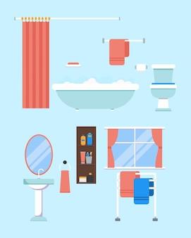 Modernes badezimmerinterieur mit möbeln im modernen badezimmer des flachen stildesigns