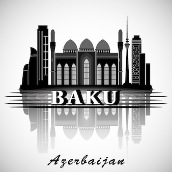 Modernes baku city skyline design. aserbaidschan.