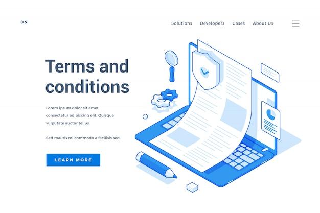 Modernes banner, das die allgemeinen geschäftsbedingungen der website darstellt