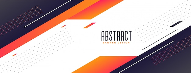 Modernes banner des geometrischen memphis-stils mit orangefarbenen formen