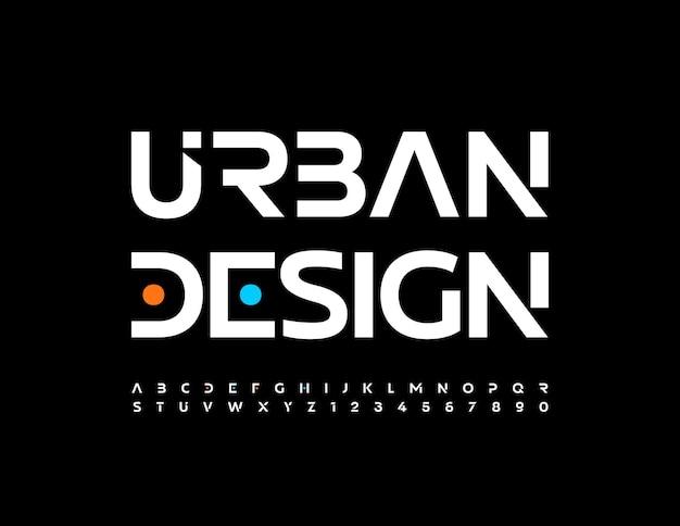 Modernes banner urbanes design trendige futuristische buchstaben und zahlen weiße minimalistische schriftart