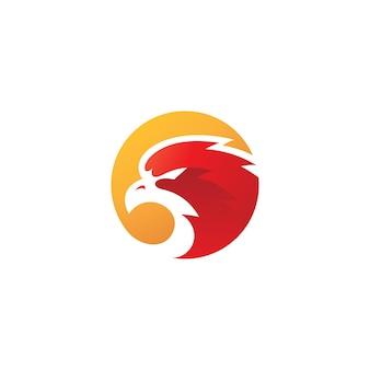 Modernes bird eagle falcon oder hawk head und circle logo design mit buntem farbverlauf