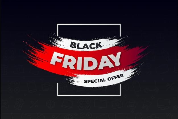 Modernes black friday-banner mit abstraktem rotem pinselstrich
