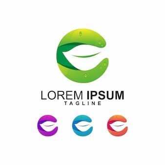 Modernes blatt mit buchstaben c logo design
