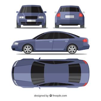 Modernes blaues auto in verschiedenen ansichten