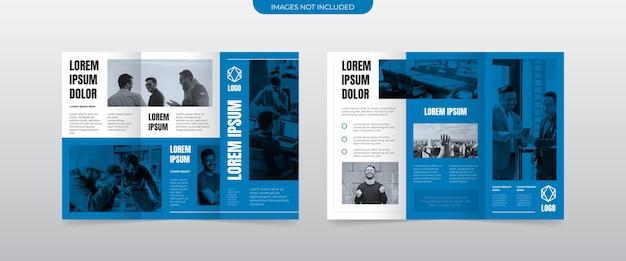 Modernes blaues dreifach gefaltetes broschürenlayout