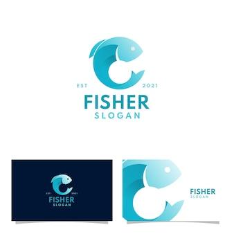 Modernes blaues fischerfischenlogo mit farbverlauf, das outdoor-unternehmen jagt