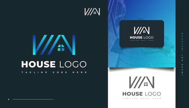 Modernes blaues haus-logo-design für immobilien-geschäftslogo
