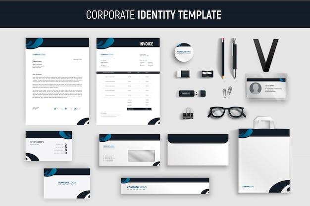Modernes blaues professionelles geschäftsbriefpapier-set