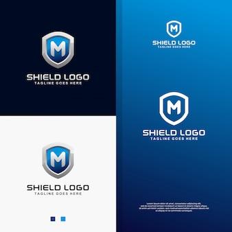 Modernes blaues schild 3d mit logo des buchstaben m.