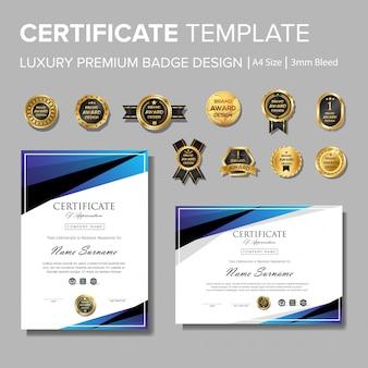 Modernes blaues zertifikat mit abzeichen