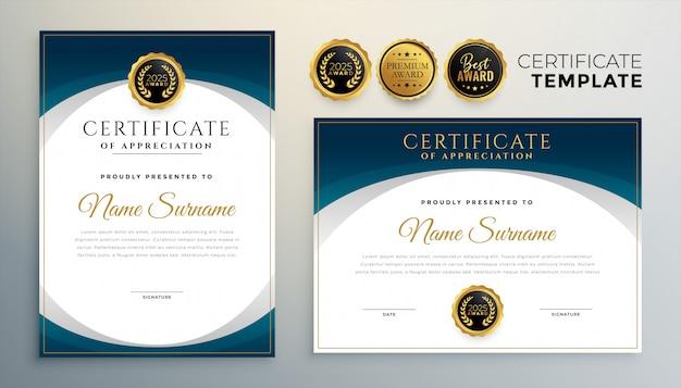 Modernes blaues zertifikat oder diplomschablonenset von zwei