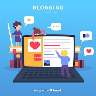 Modernes blogger-konzept mit flacher bauform