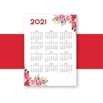 Modernes blumenbroschürenschablonendesign des kalenders 2021