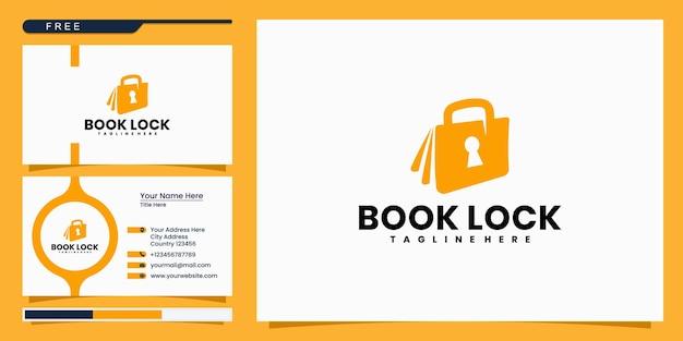 Modernes buchschloss-logo-design und visitenkarte