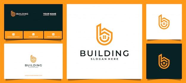 Modernes buchstabe b-logo für gebäude, immobilien, bauunternehmer, architektur, beratung, investition. mit visitenkarte