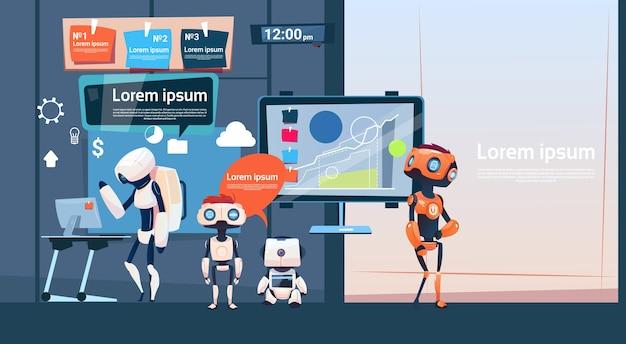 Modernes büro-geschäfts-roboter-gruppen-arbeiten