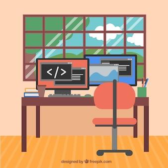 Modernes büro mit computern und fenster