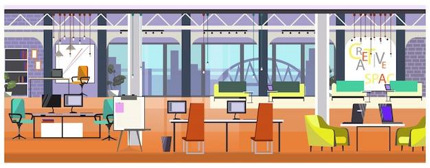 Modernes büro mit panoramischer fensterillustration