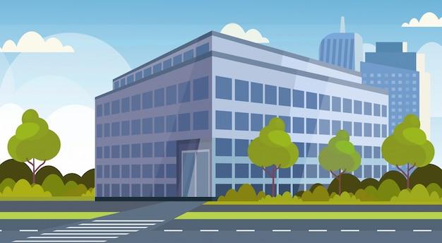 Modernes bürogebäude des unternehmensgeschäftszentrums stadtbildhintergrund flach horizontal