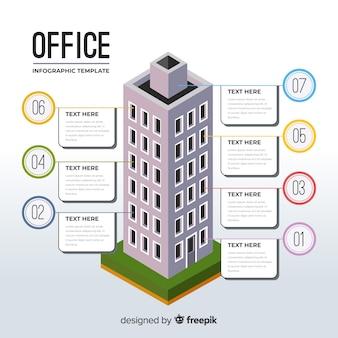 Modernes bürogebäude infographic mit flachem design