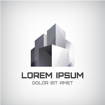 Modernes bürogebäude-logo lokalisiert auf grau