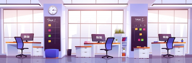 Modernes bürointerieur, offener arbeitsplatz
