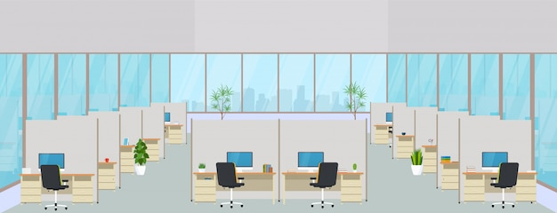 Modernes bürozentrum mit arbeitsplätzen. leerer arbeitsbereich für die zusammenarbeit, design eines geschäftsraums mit großen fenstern, möbeln im innenraum, desktops und stühlen, computerausrüstung.