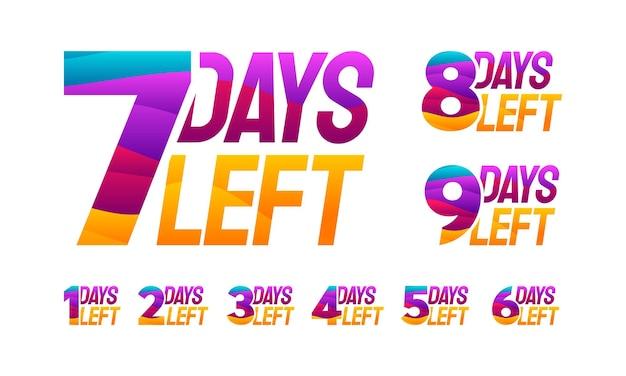Modernes buntes countdown-linke-tage-banner, anzahl der tage übriges abzeichen für werbung, countdown-verkaufsvektorillustration