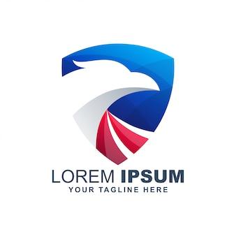 Modernes buntes logo des falken des amerikanischen adler-falken