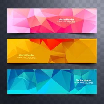 Modernes buntes polygon baners set