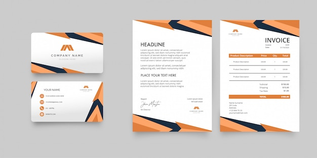 Modernes business stationery pack mit orangefarbenen formen
