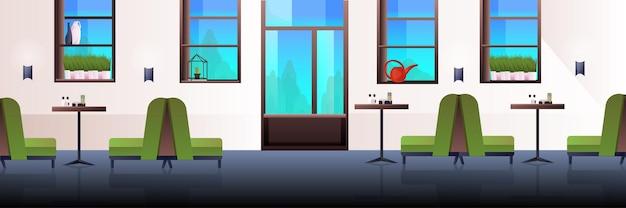 Modernes café innen leer kein menschenrestaurant mit horizontalen möbeln