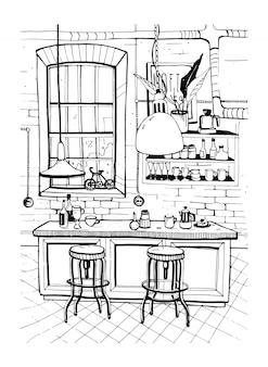 Modernes café-interieur im loft-stil. hand gezeichnete skizzenillustration.